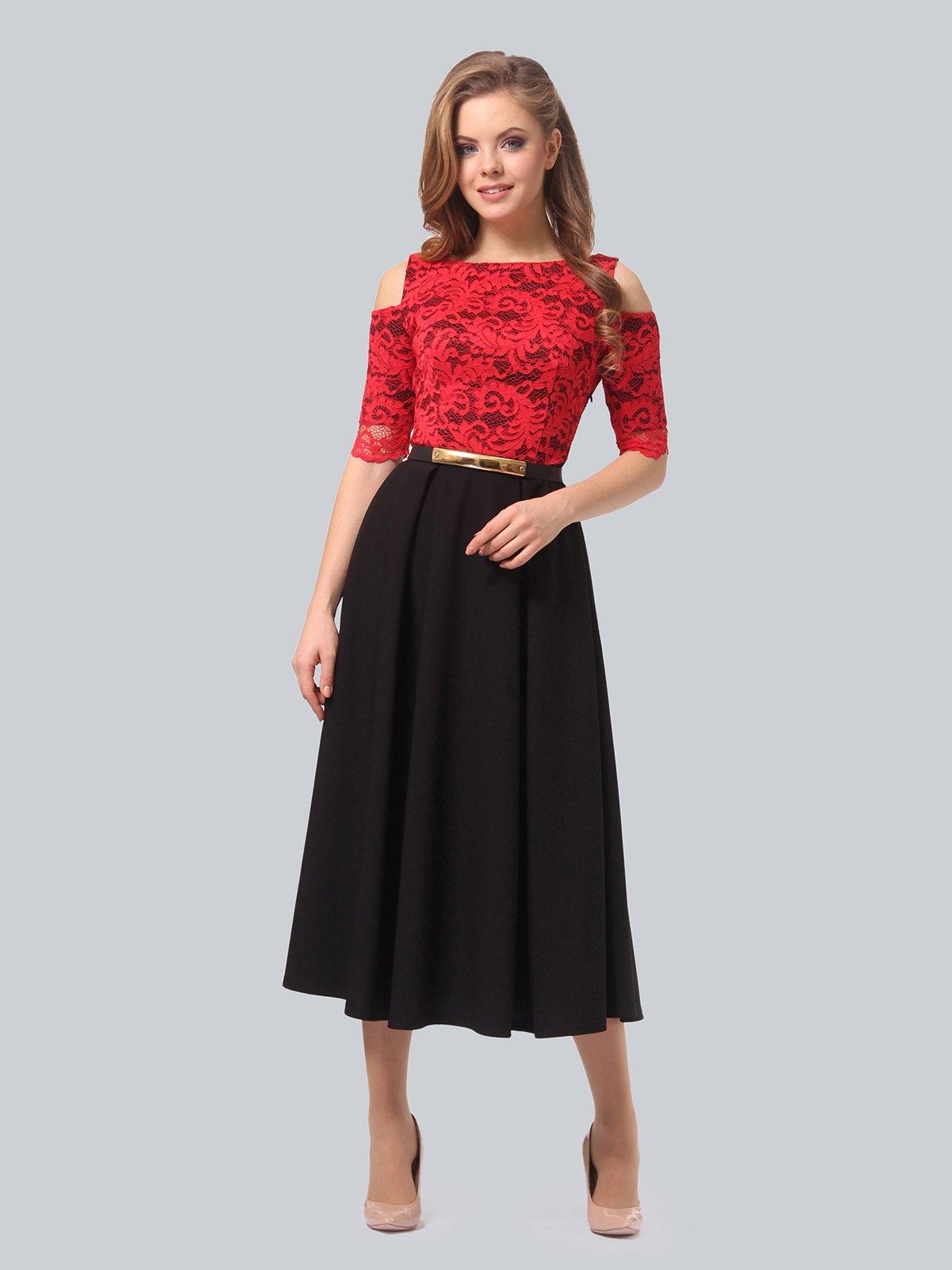 Платье черно-красное | 3863243