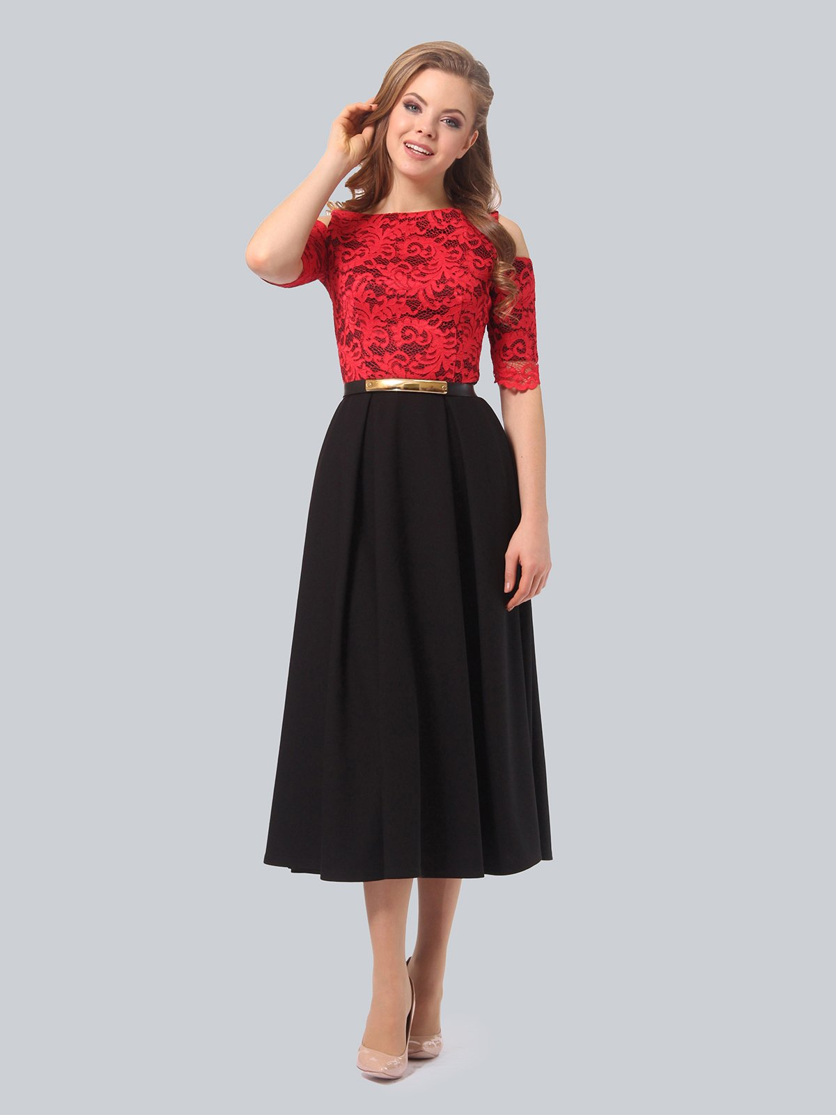 Платье черно-красное | 3863243 | фото 3