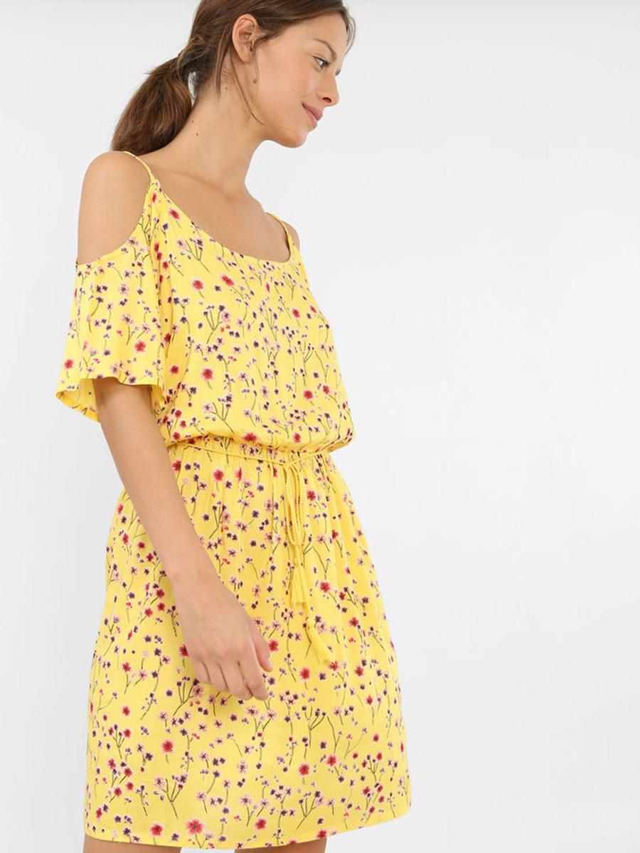 Платье желтое в цветочный принт   3851825