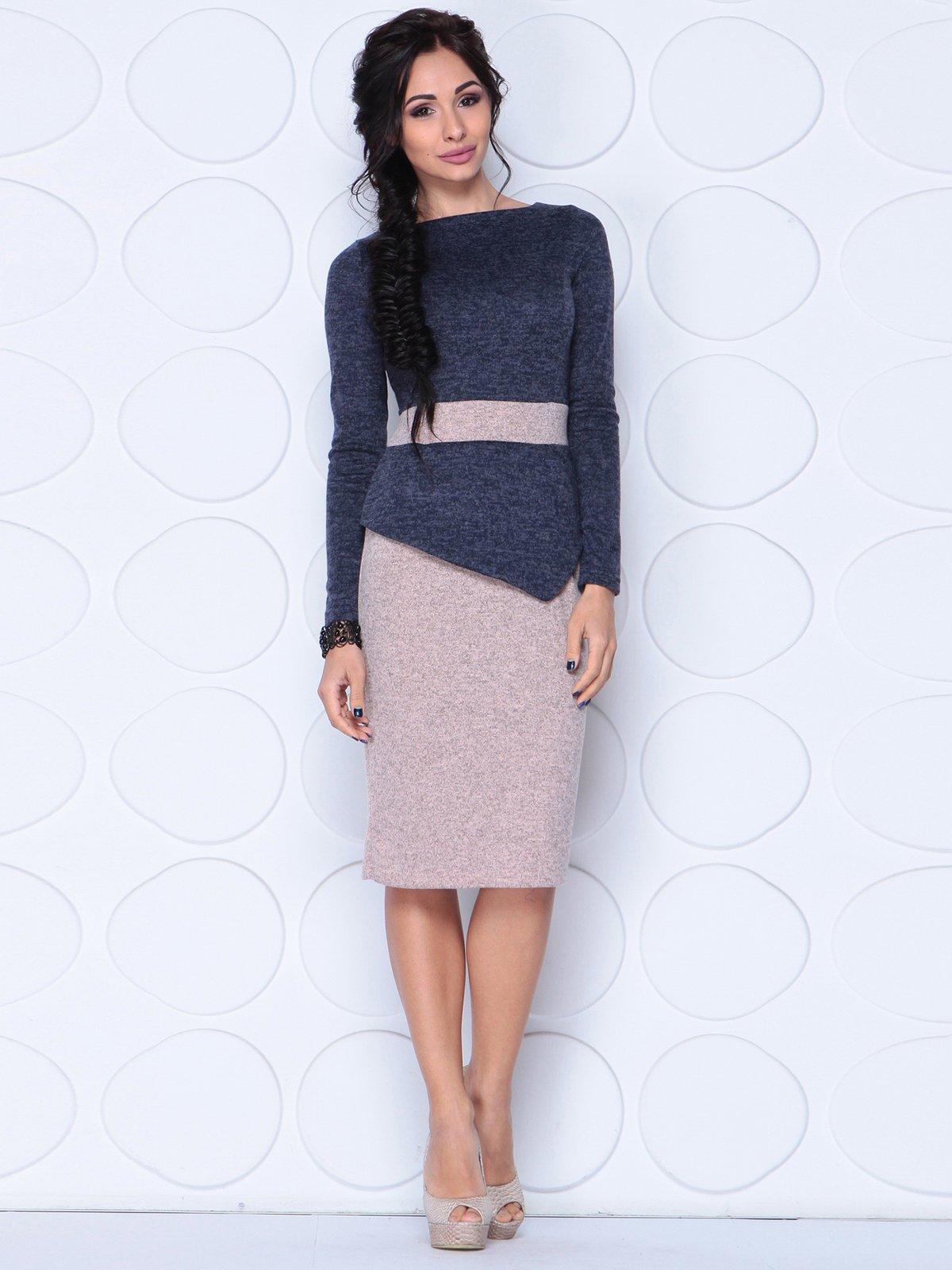 Сукня темно-синя з персиковим | 3876123