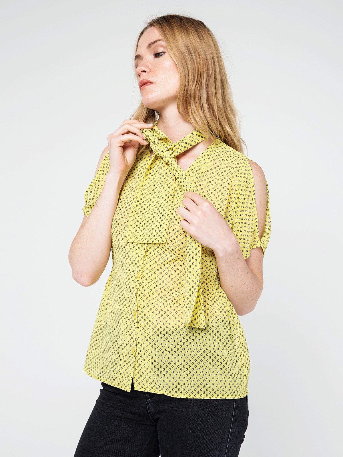 Блуза жовта в принт | 3856472