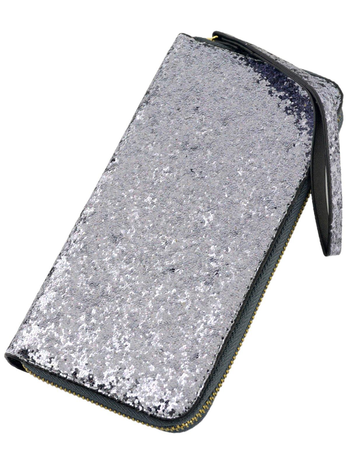 Гаманець сріблястий з паєтками | 3891261