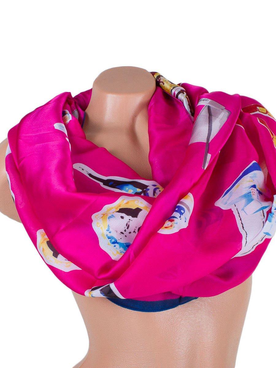 Шарф рожевий з принтом атласний | 3876902