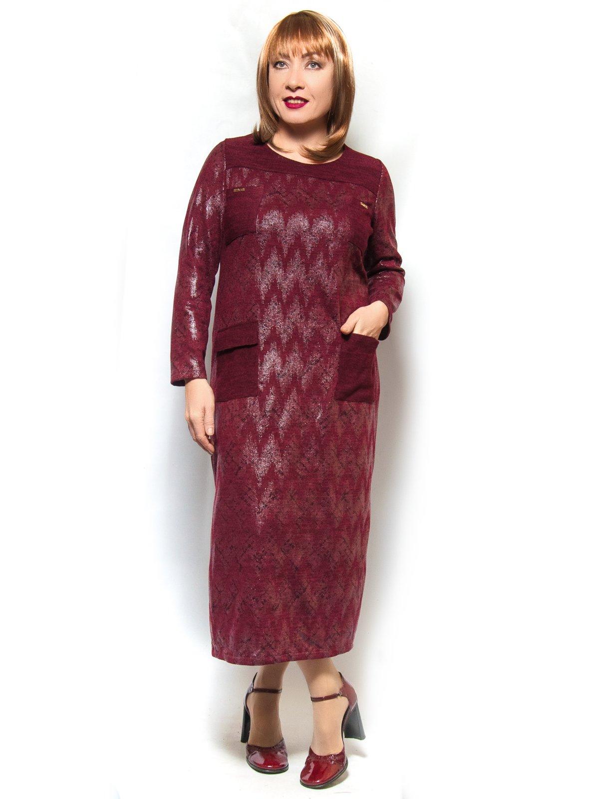 Сукня бордова в зигзаги | 3906813