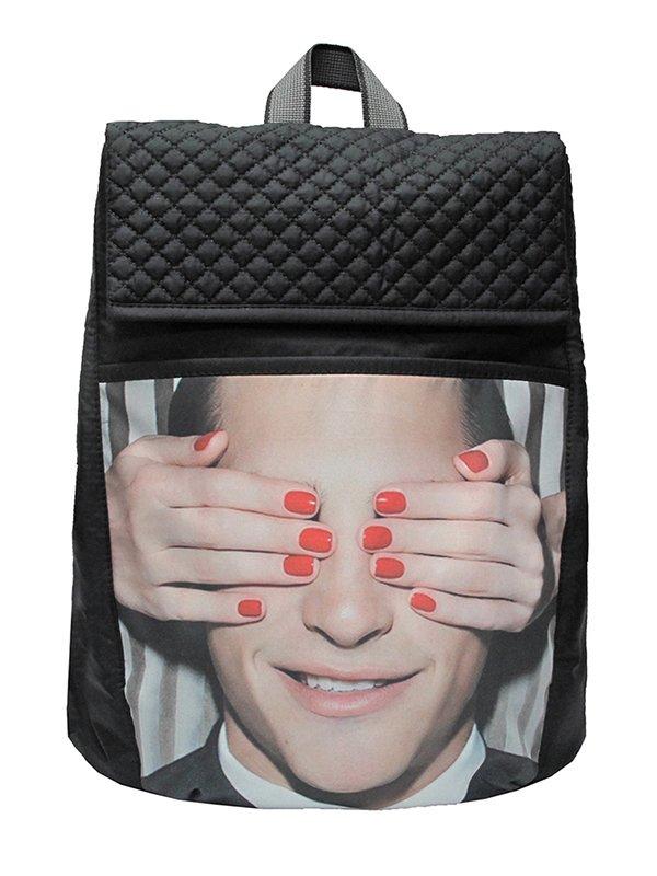 Рюкзак черный в принт | 3901873