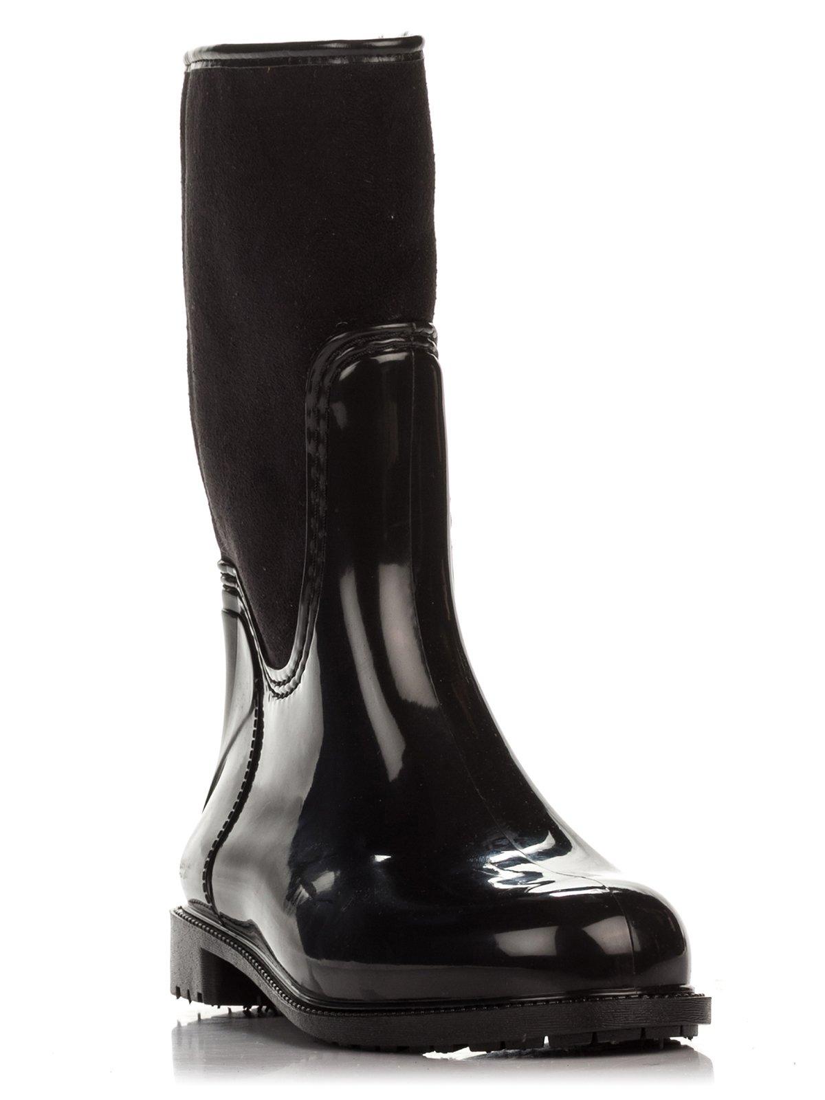 Сапоги черные комбинированные | 1384837