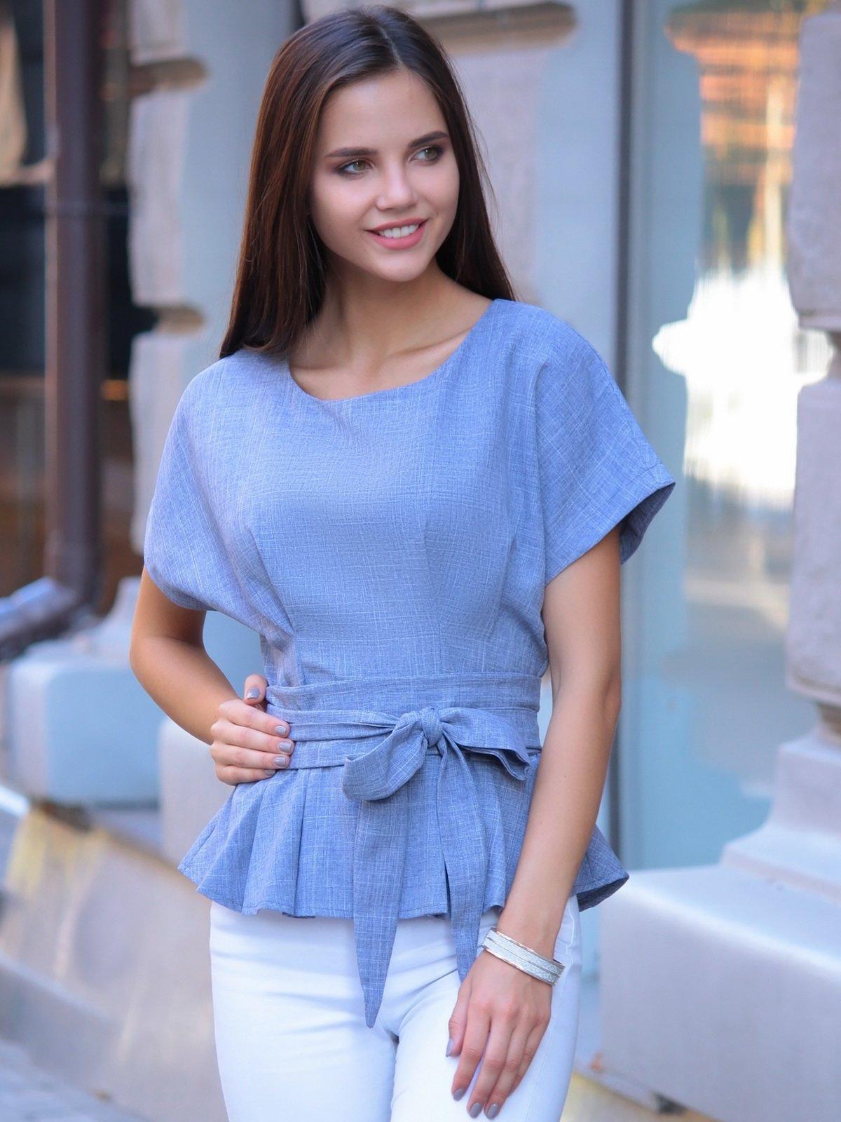 Блуза кольору фіолетового серпанку | 2434360