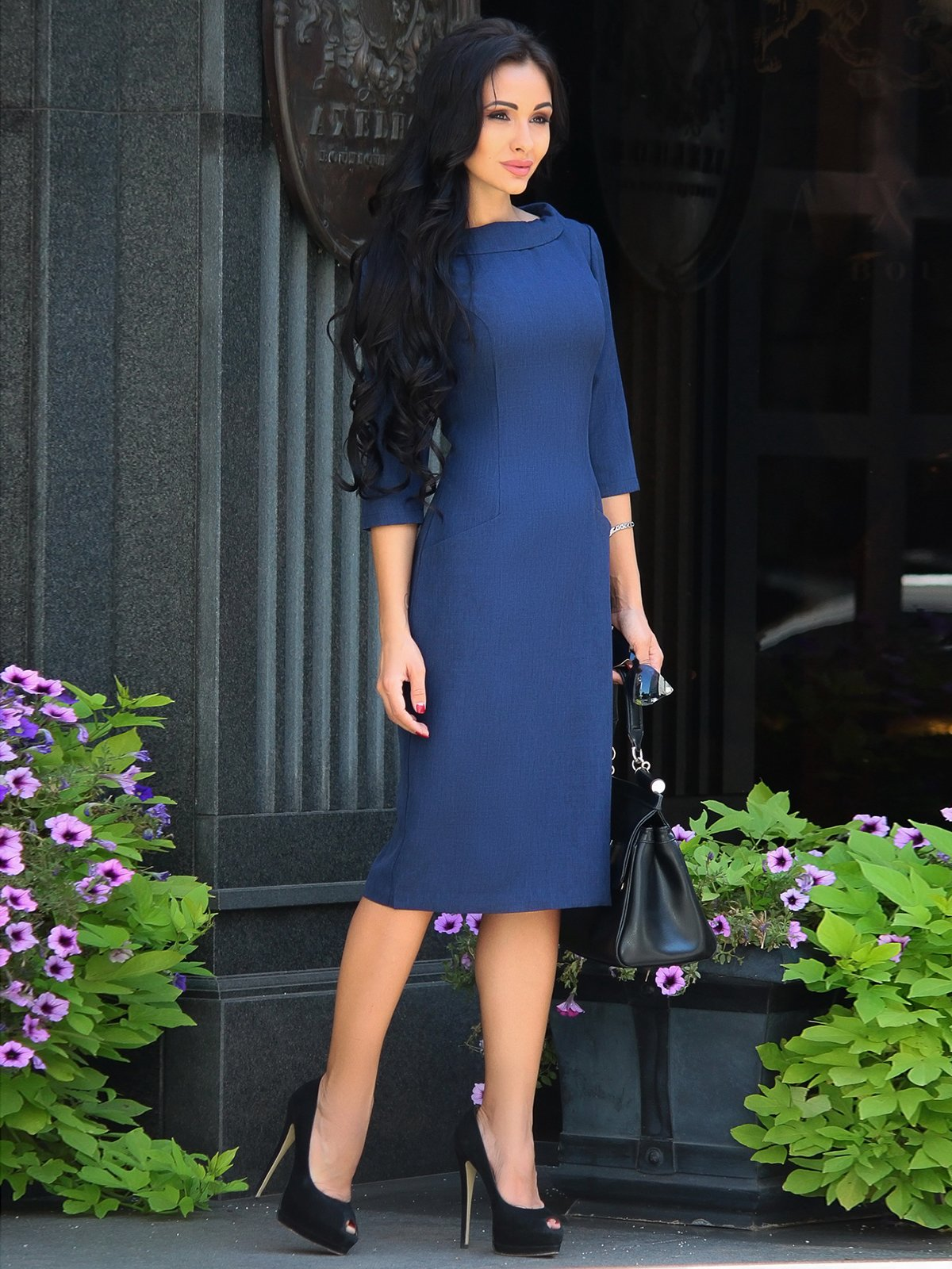 Платье темно-синее | 3398202