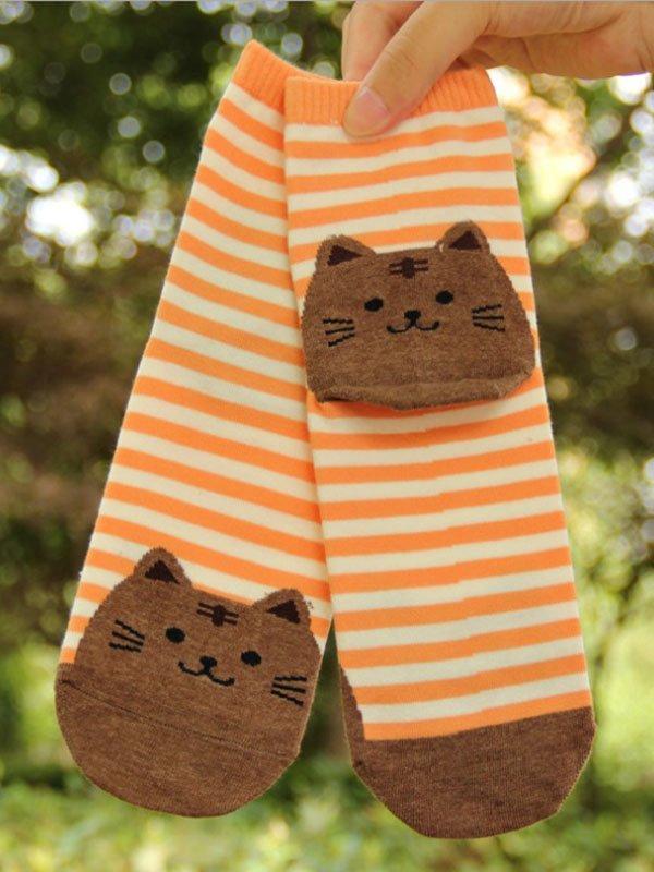 Шкарпетки помаранчеві з принтом | 3876581