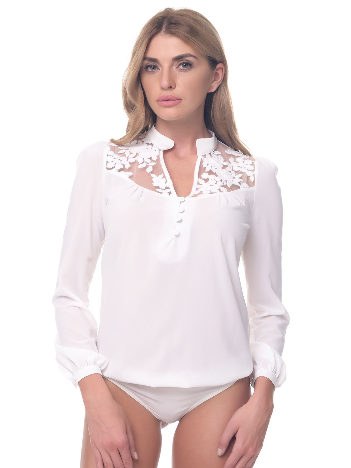 Блуза-боди молочного цвета | 3918282