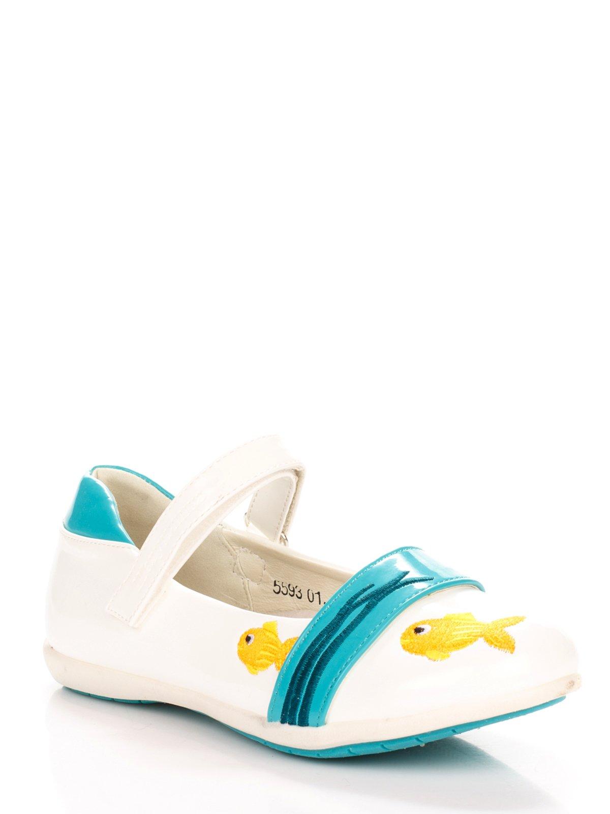 Туфлі біло-блакитні з вишивкою | 3919018
