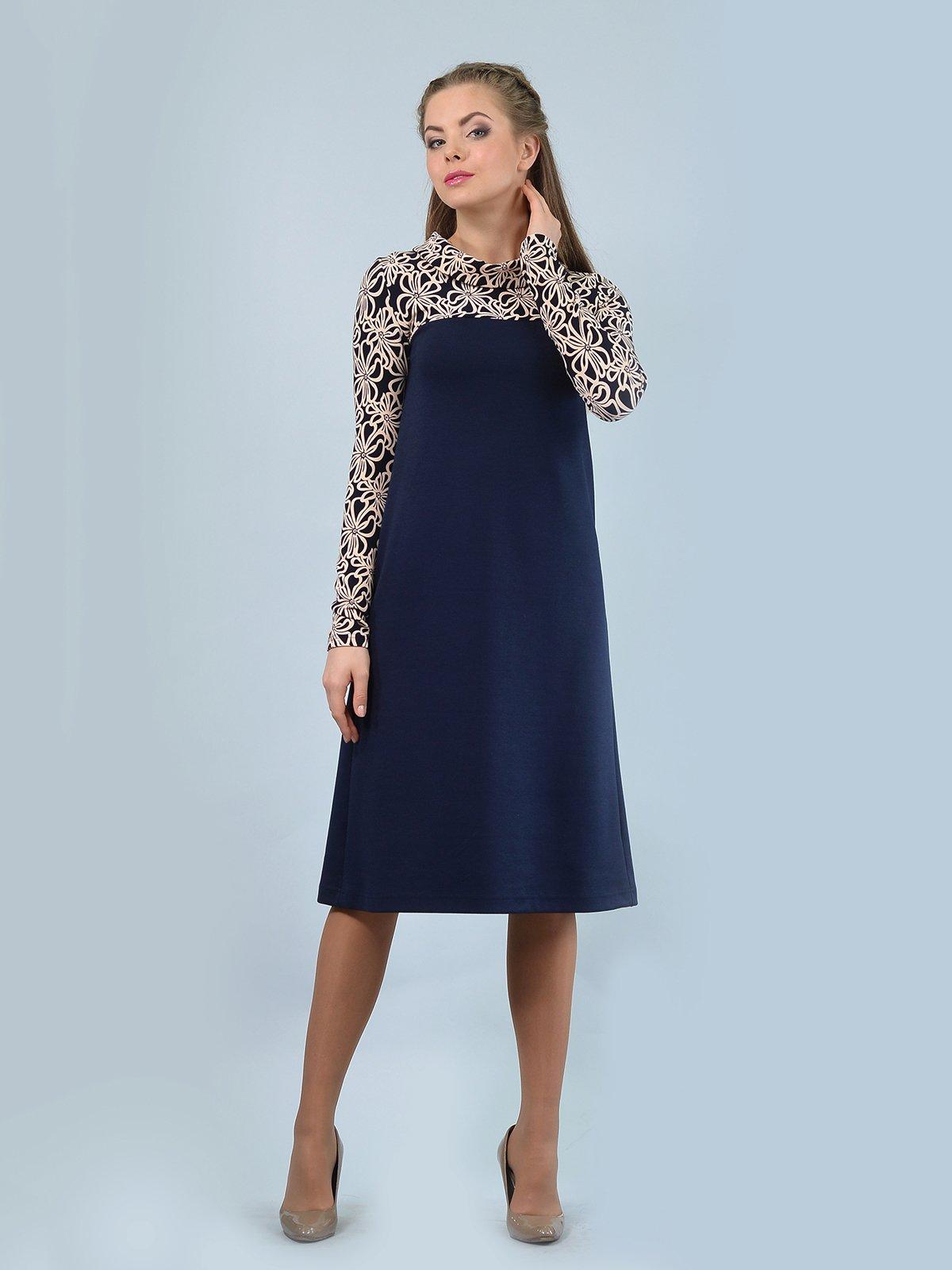Сукня темно-синя з квітковим принтом | 3769698