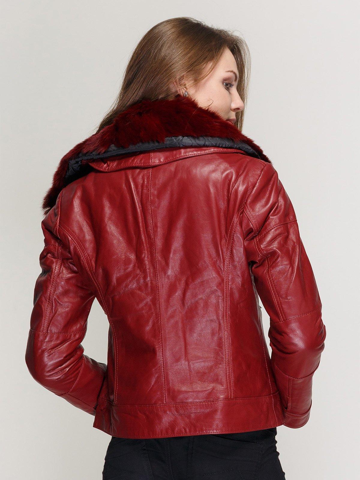 Куртка винного цвета с воротником из меха кролика | 1366392 | фото 2