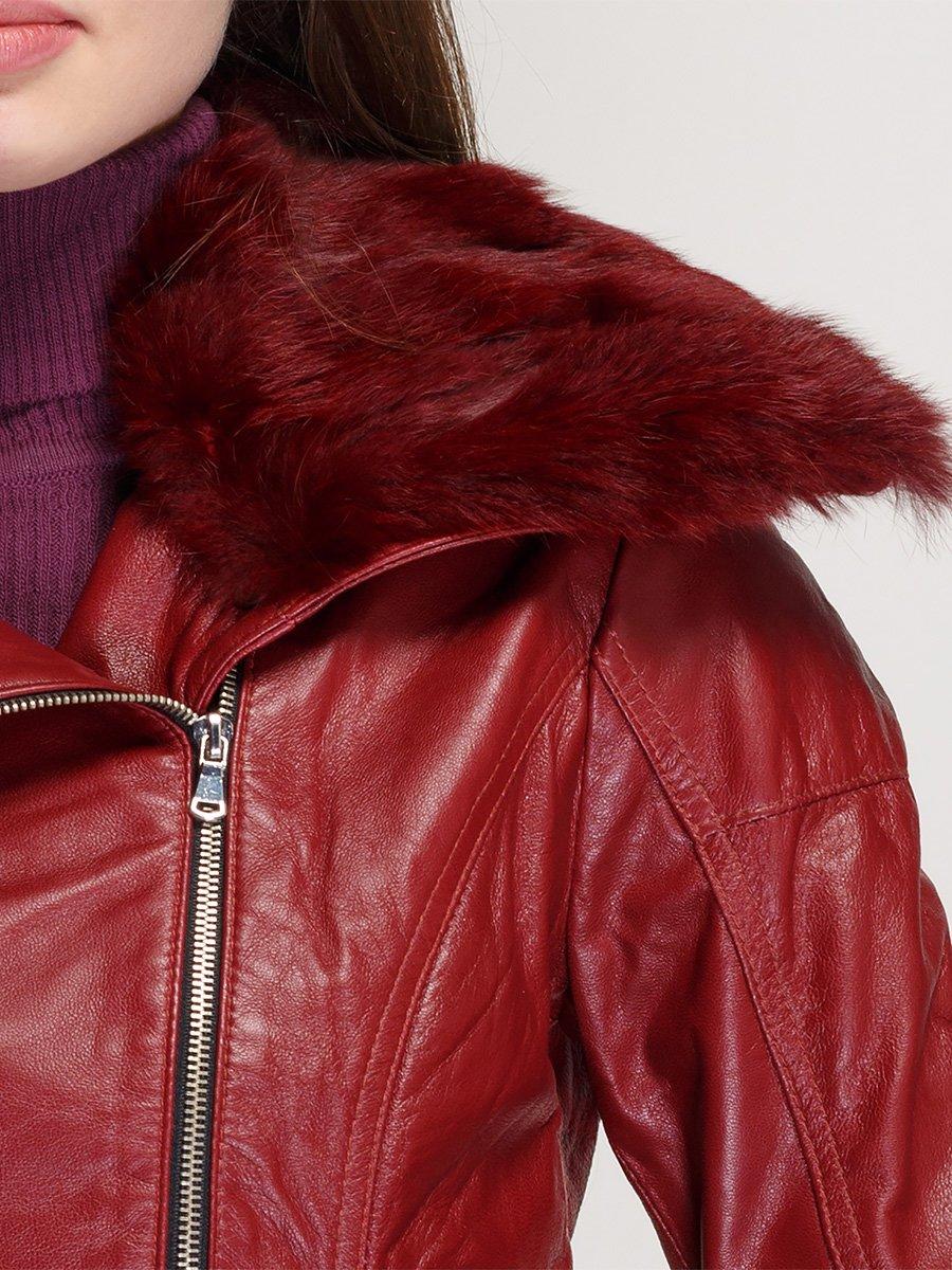 Куртка винного цвета с воротником из меха кролика | 1366392 | фото 3