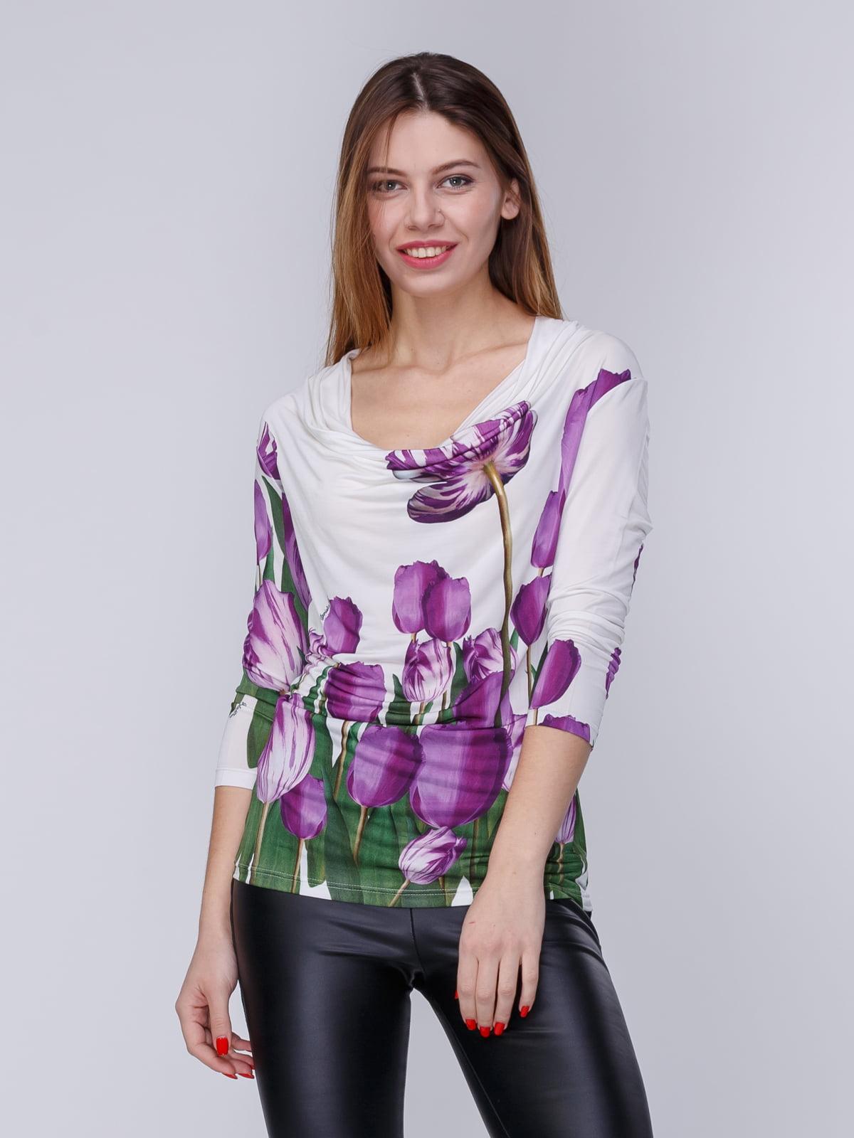 Блуза белая в цветочный принт   3956801