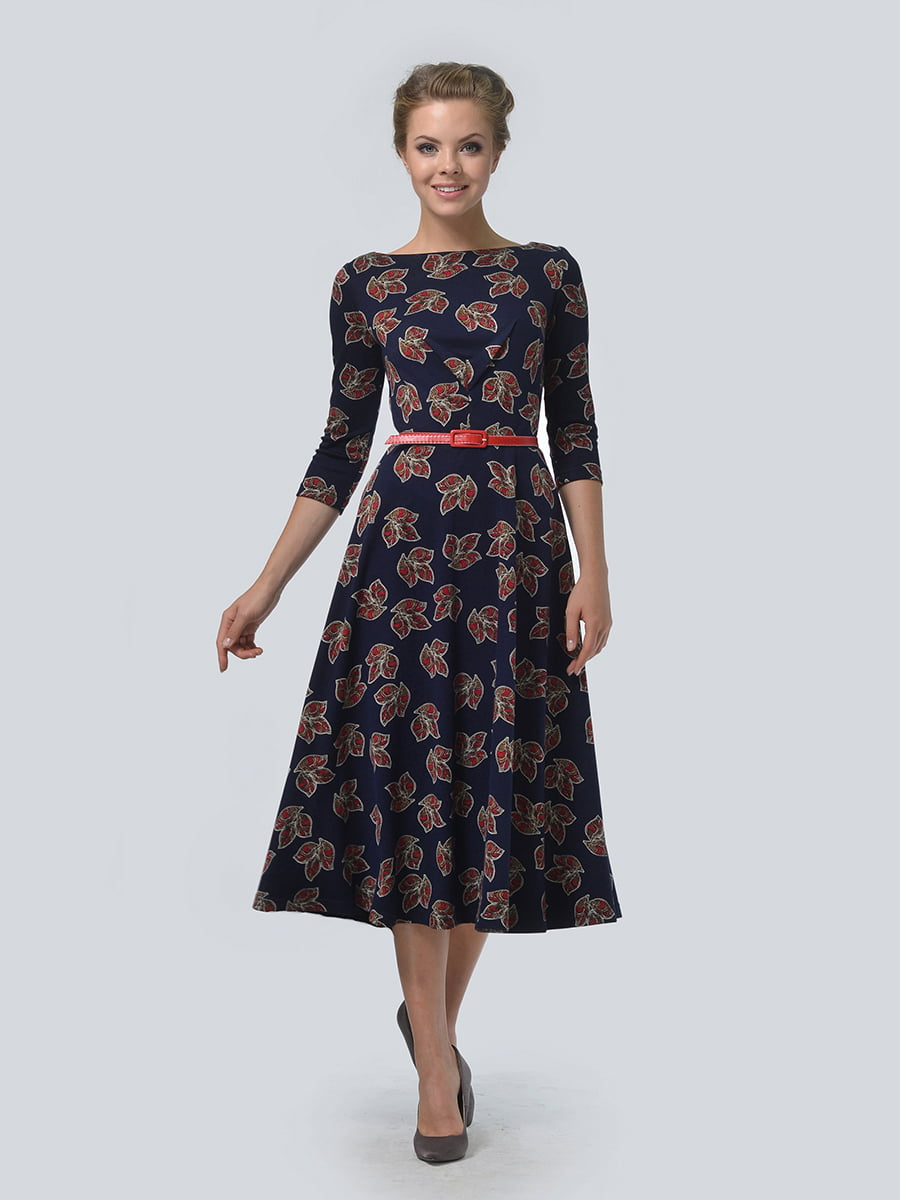 Платье синее в цветочный принт | 3505454 | фото 3