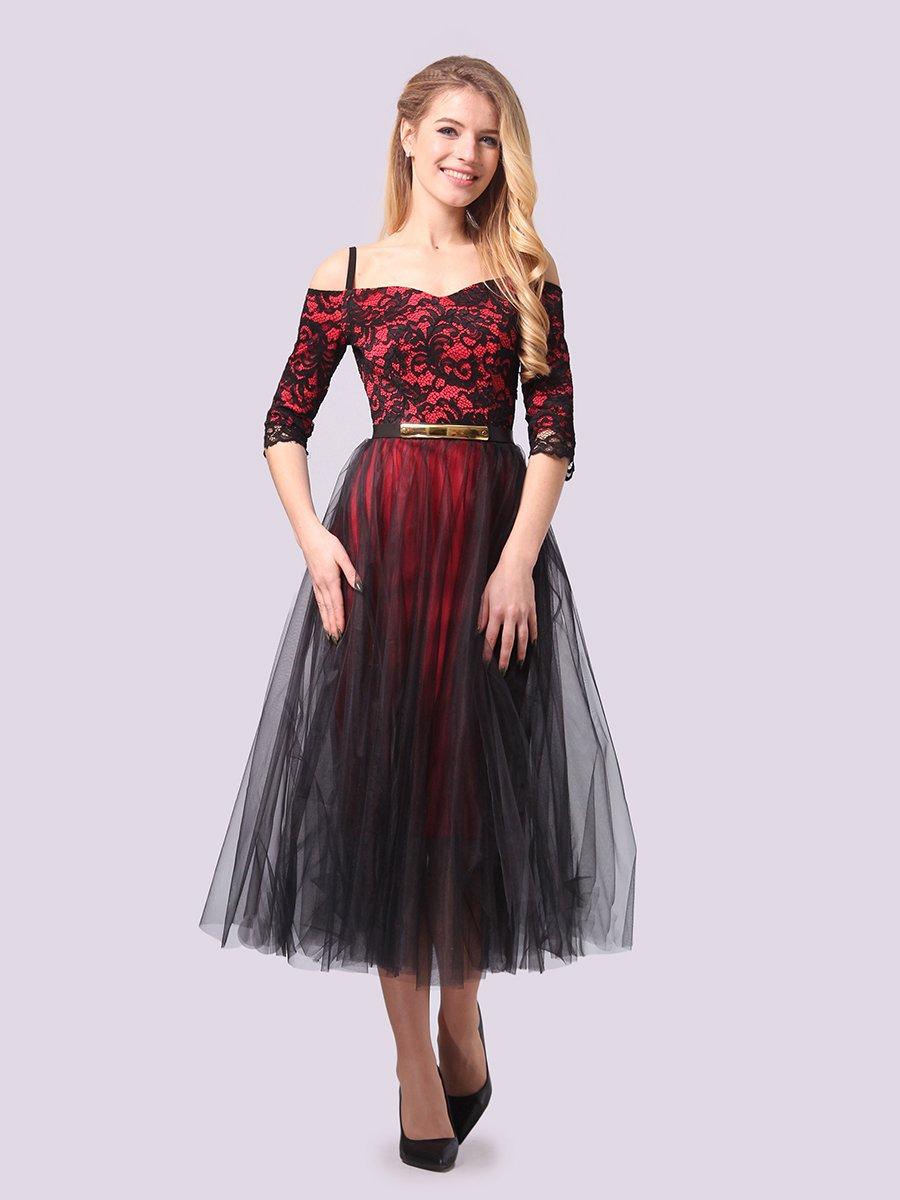 Платье кораллово-черное | 3961199