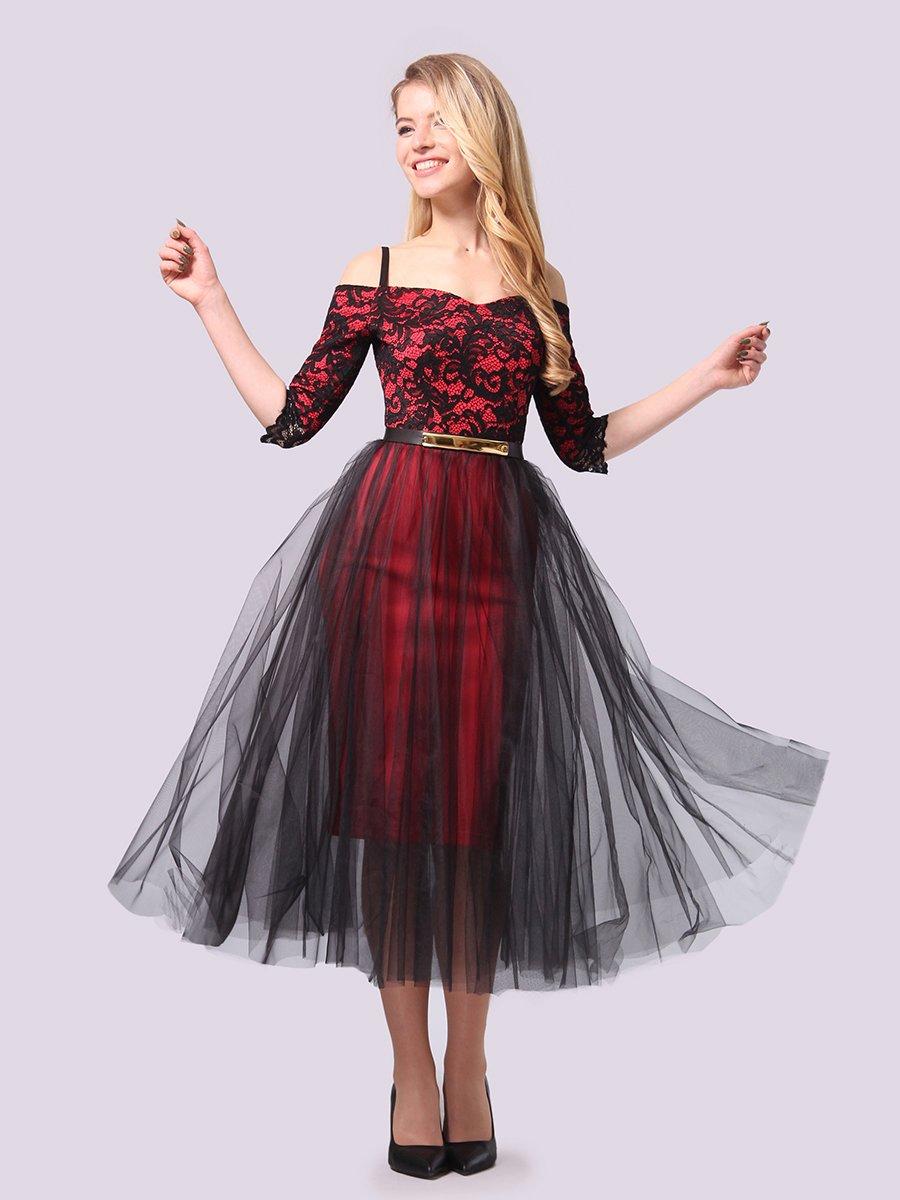 Платье кораллово-черное | 3961199 | фото 2