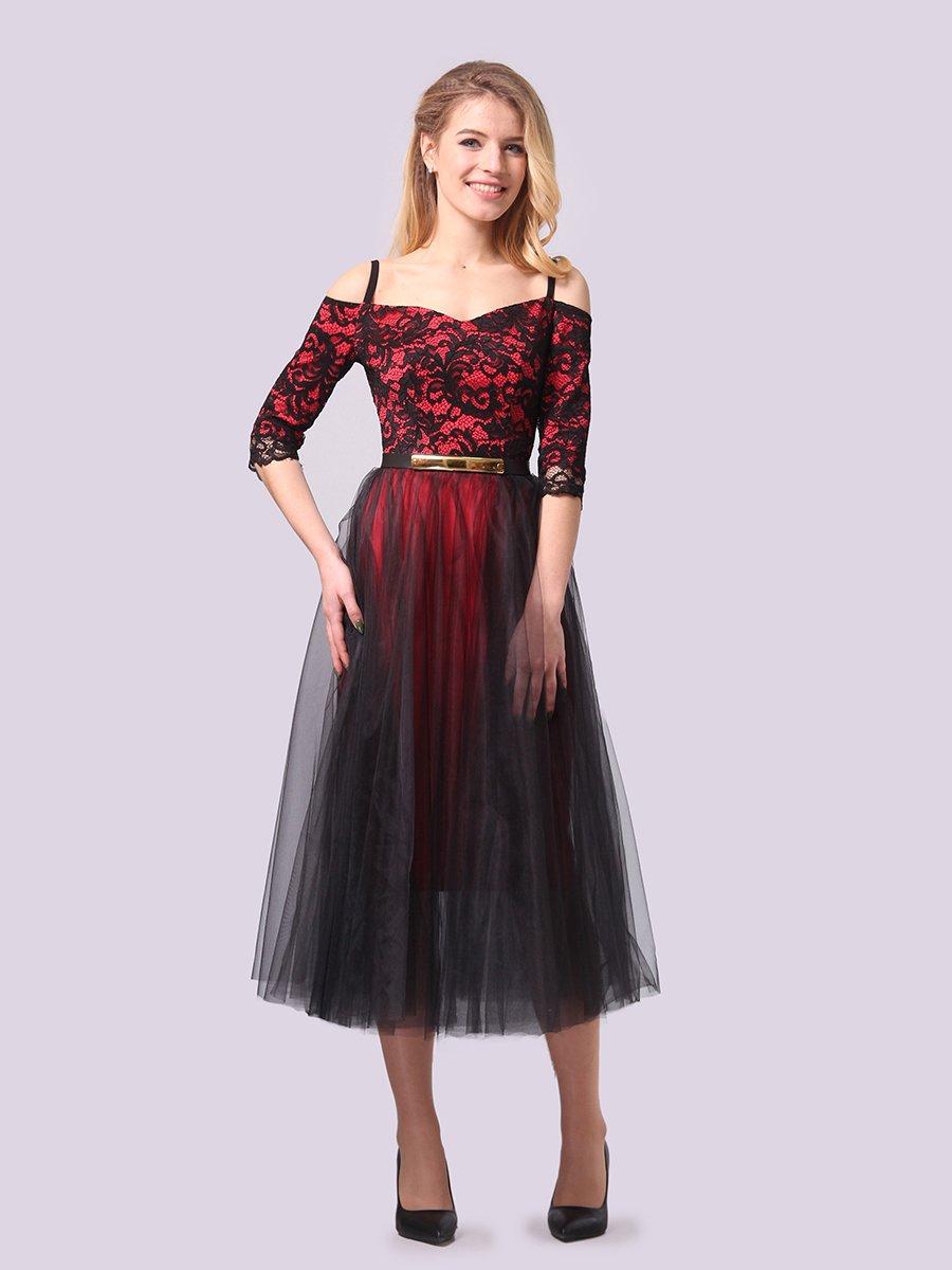 Платье кораллово-черное | 3961199 | фото 3