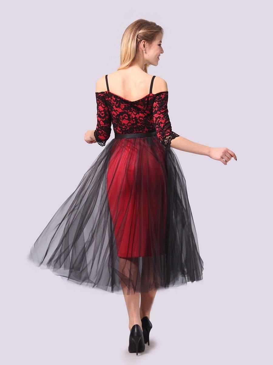 Платье кораллово-черное | 3961199 | фото 4