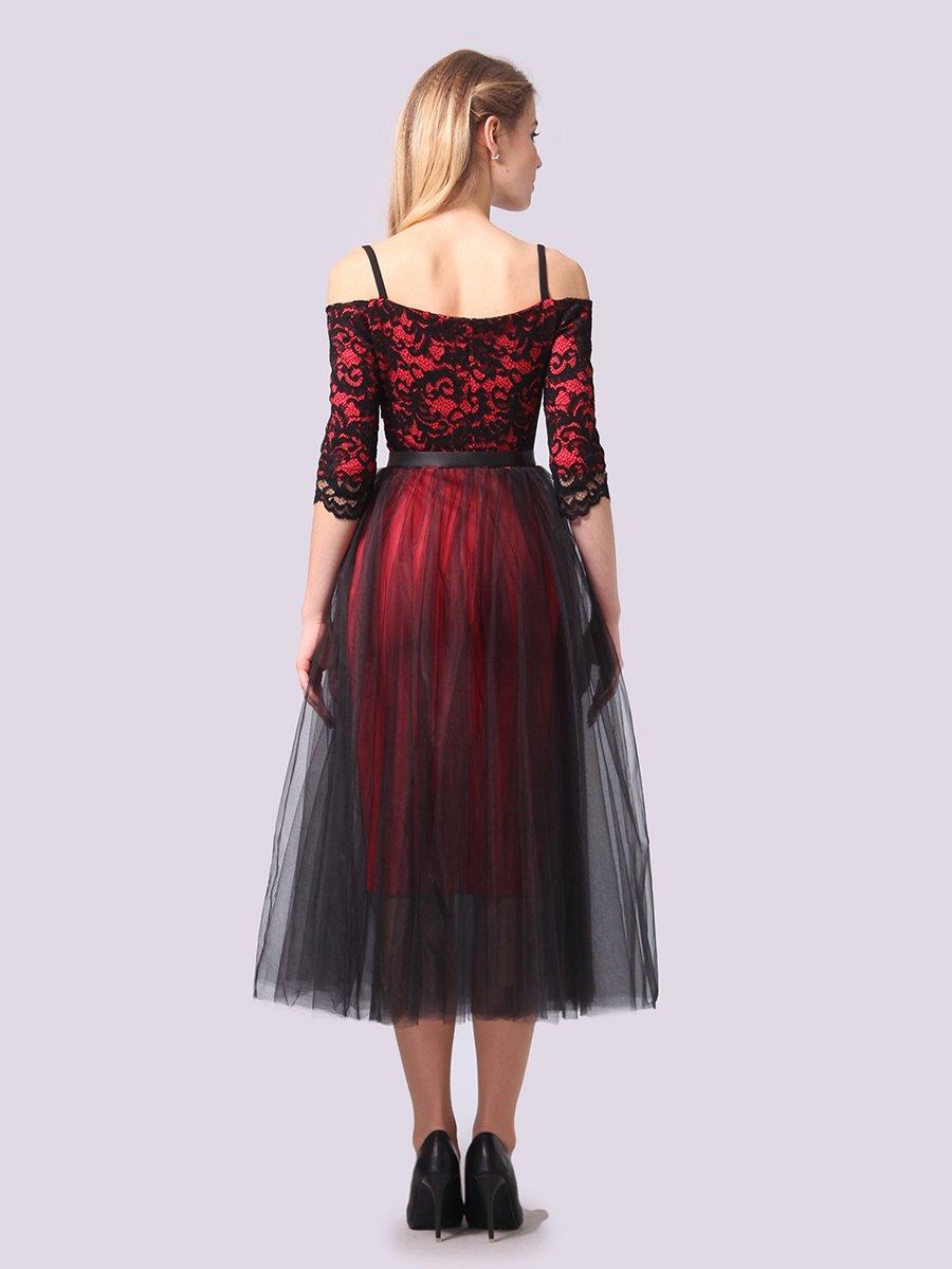 Платье кораллово-черное | 3961199 | фото 5