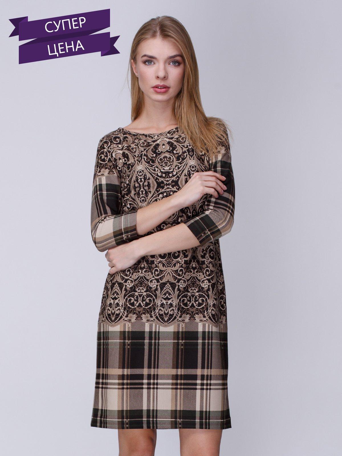 Платье в комбинированный принт | 3645635