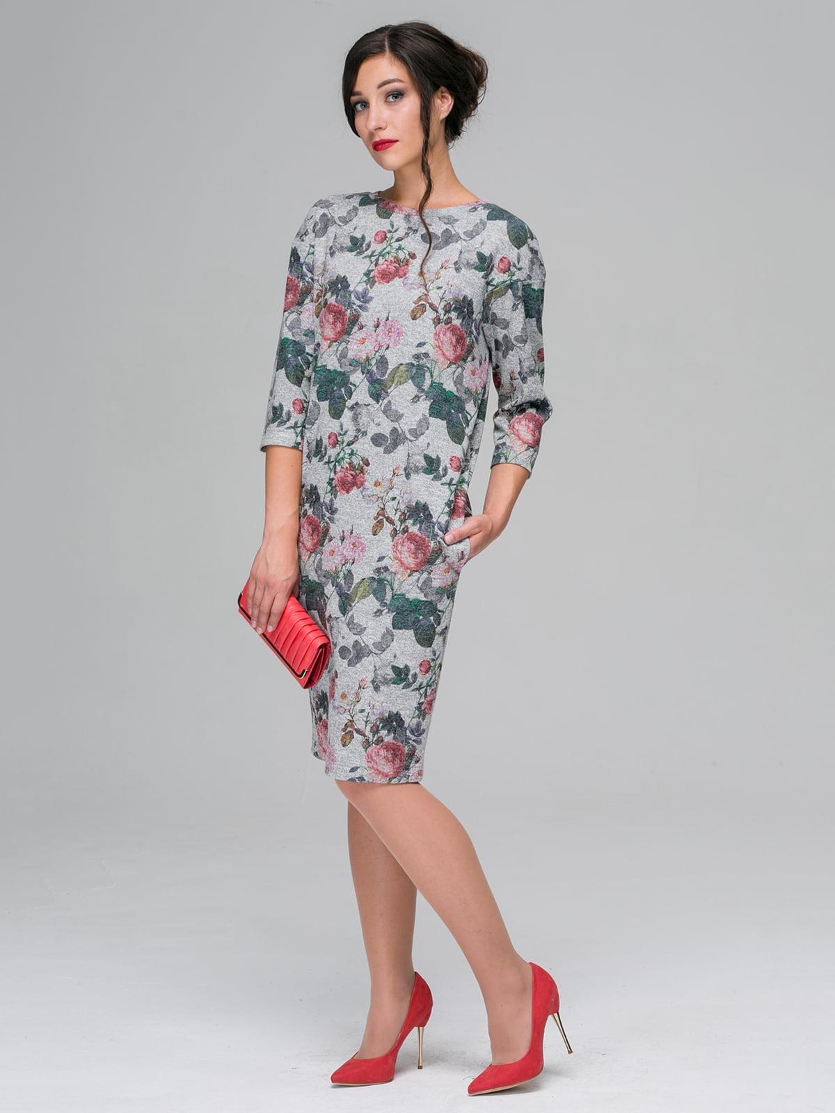 Сукня сіра в квітковий принт | 3976674