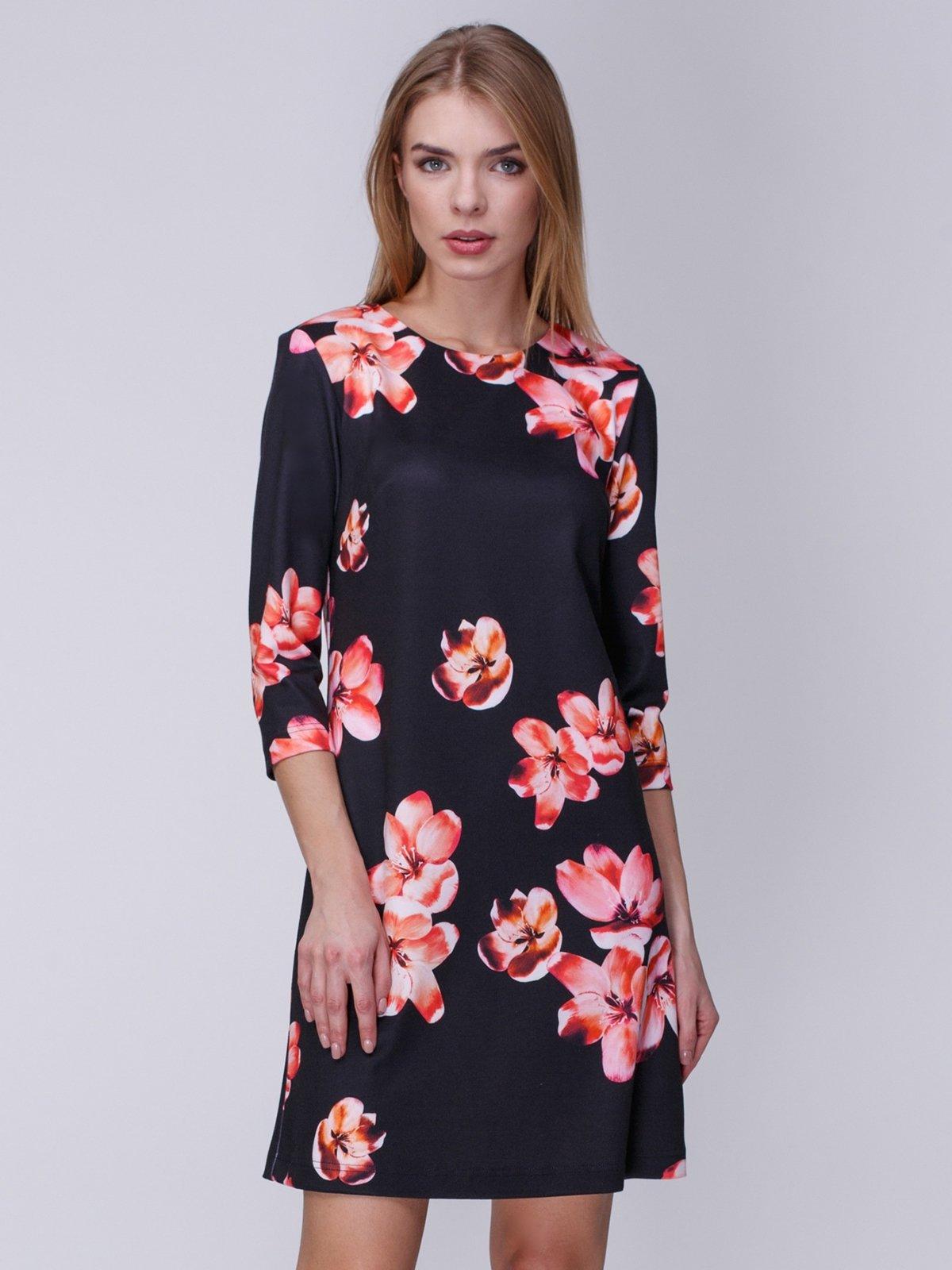 Платье черное с цветочным принтом   3996275