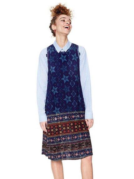 Сукня синя в принт | 3997116