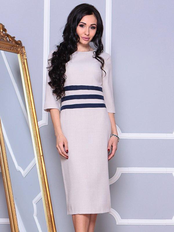 Платье бежево-синее | 4002291