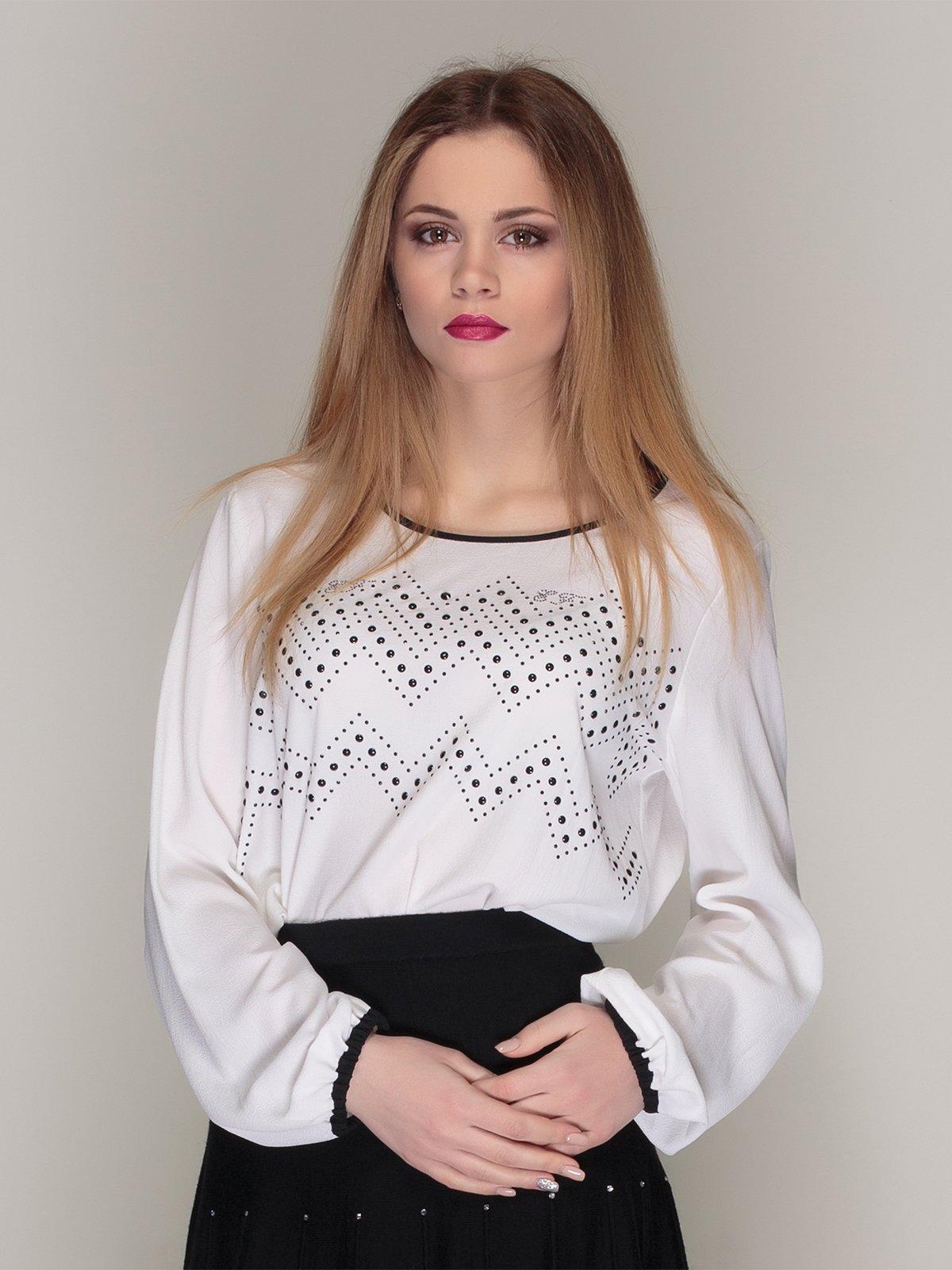 Блуза біла з принтом | 4009647