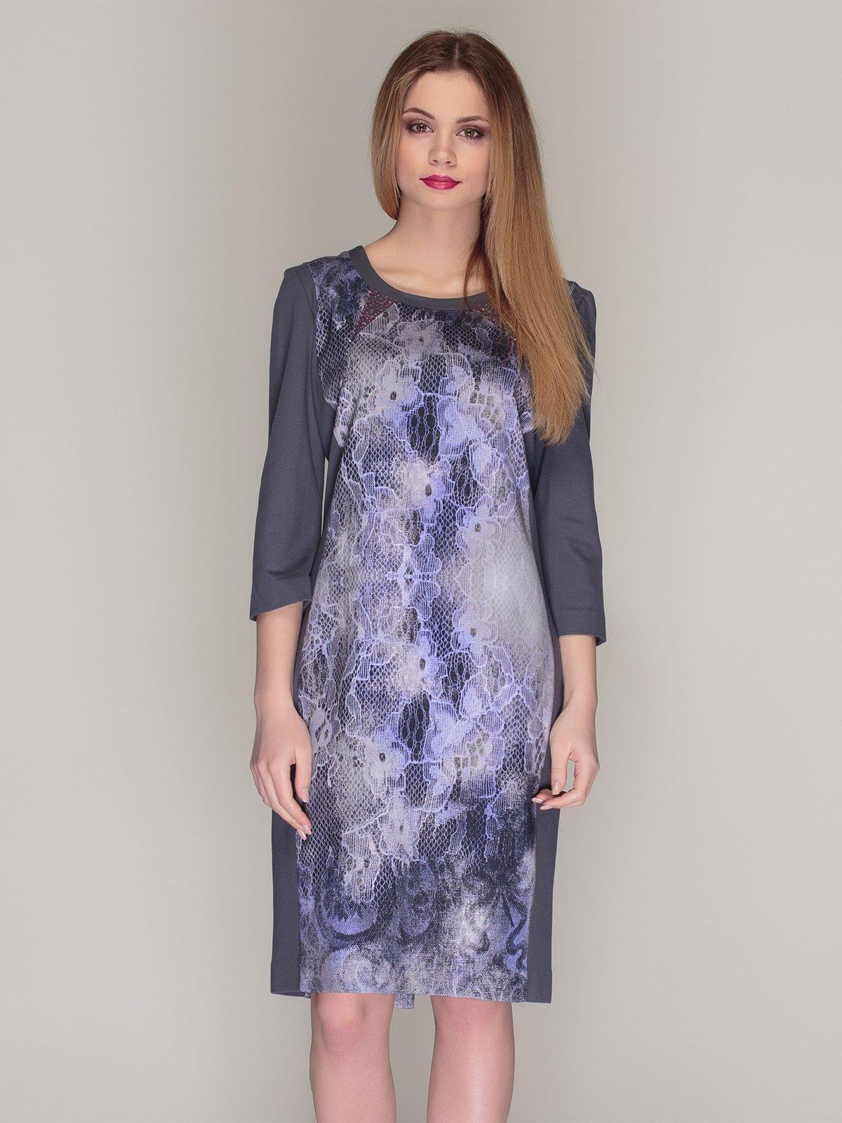 Сукня сіра в принт | 4009784
