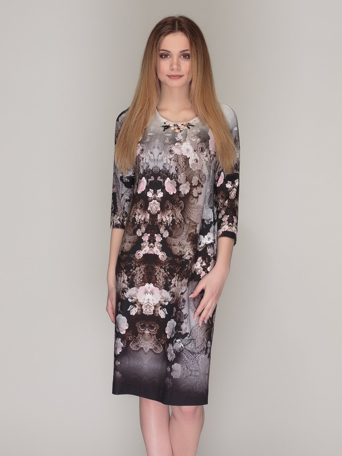 Сукня сіра в квітковий принт | 4009676