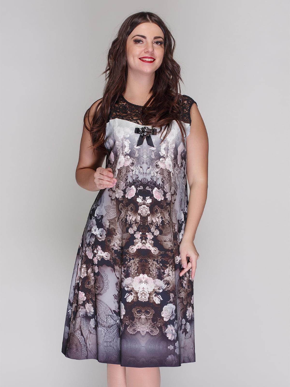 Платье серое в цветочный принт | 4009684
