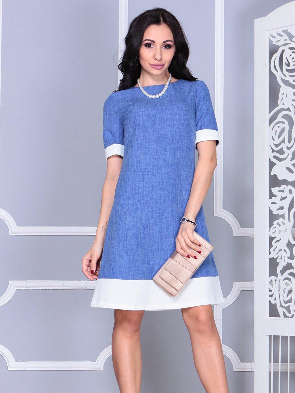 Платье сине-молочное | 4021156