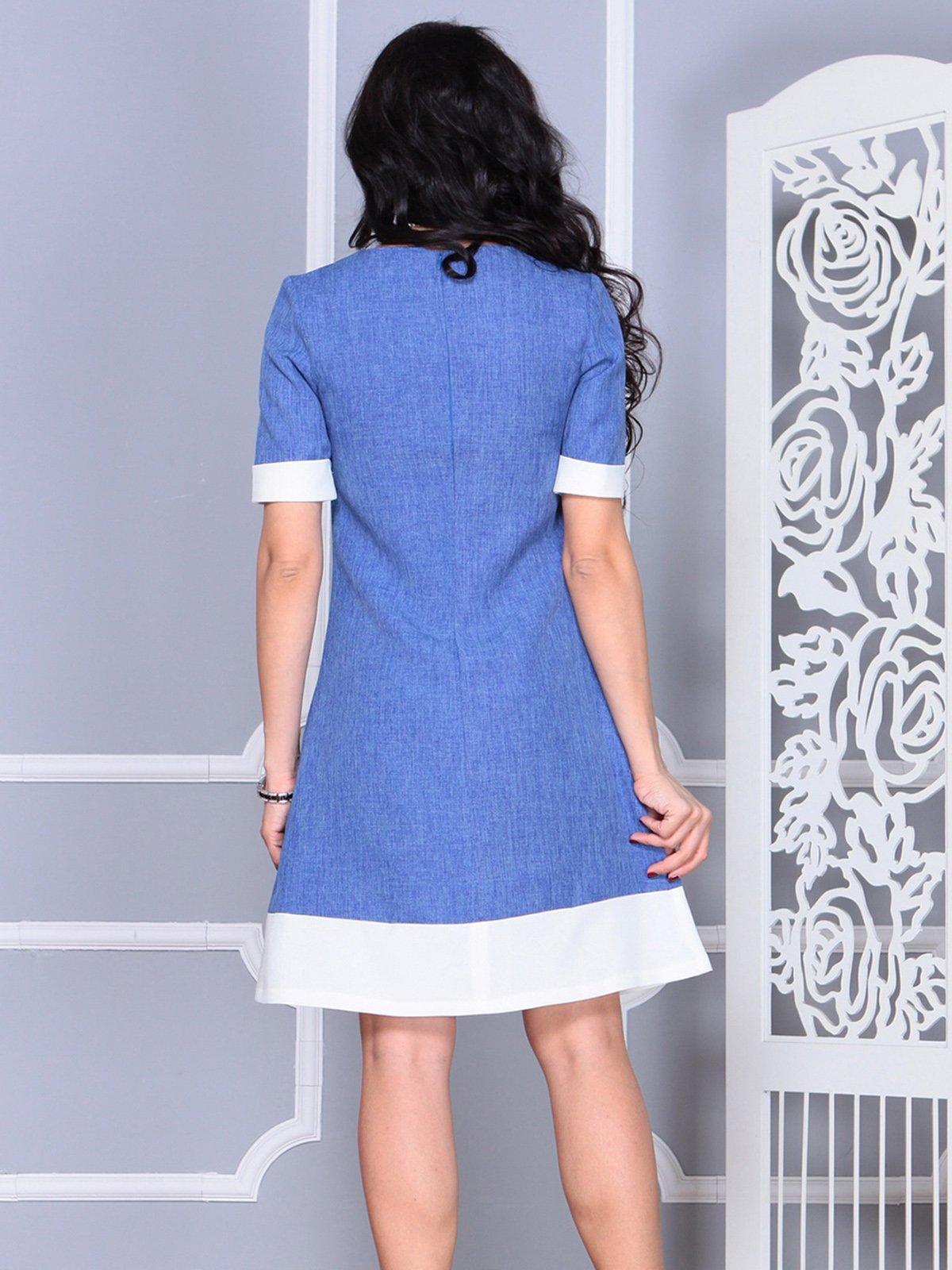 Платье сине-молочное | 4021156 | фото 2