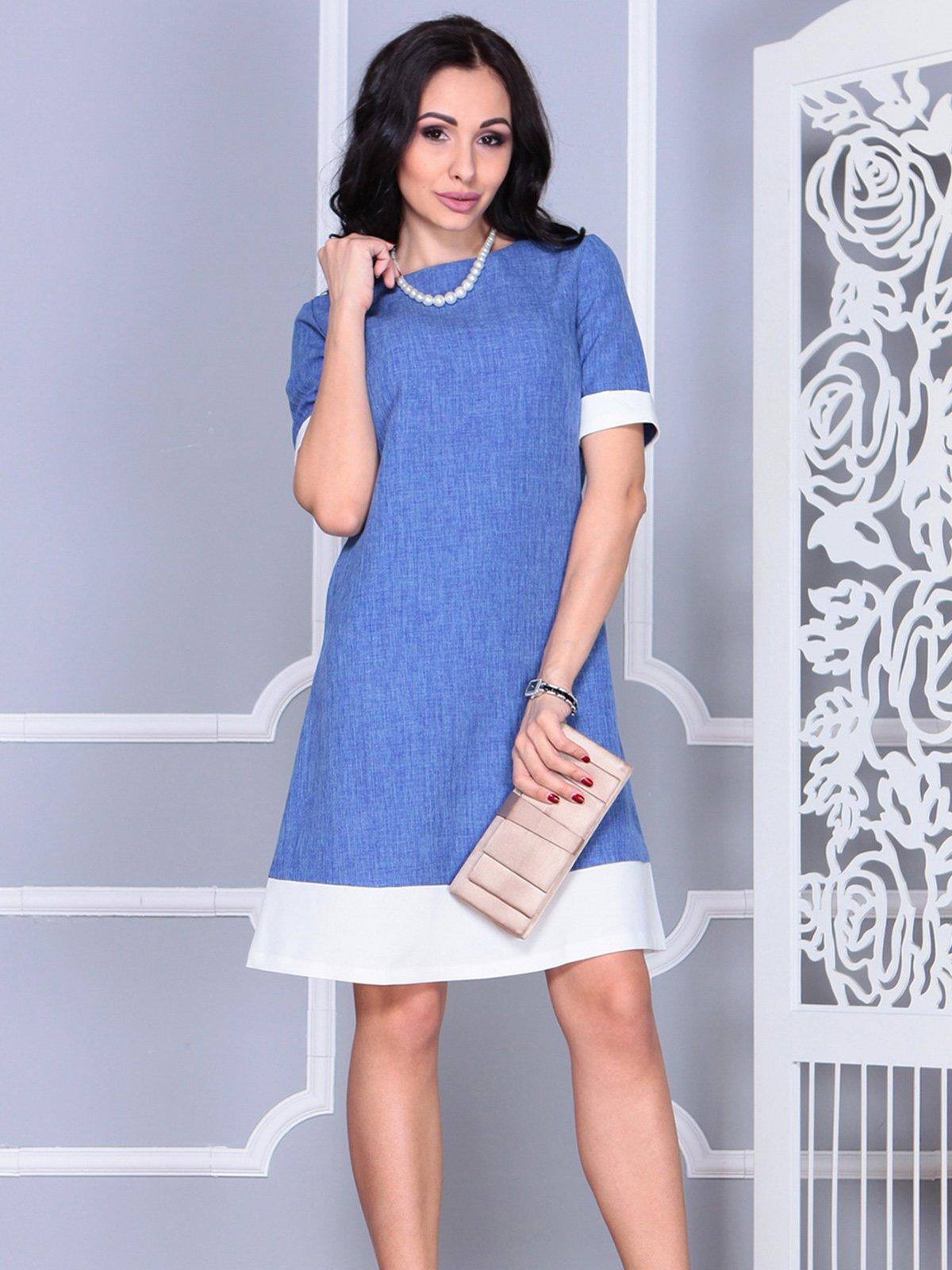 Платье сине-молочное | 4021156 | фото 3