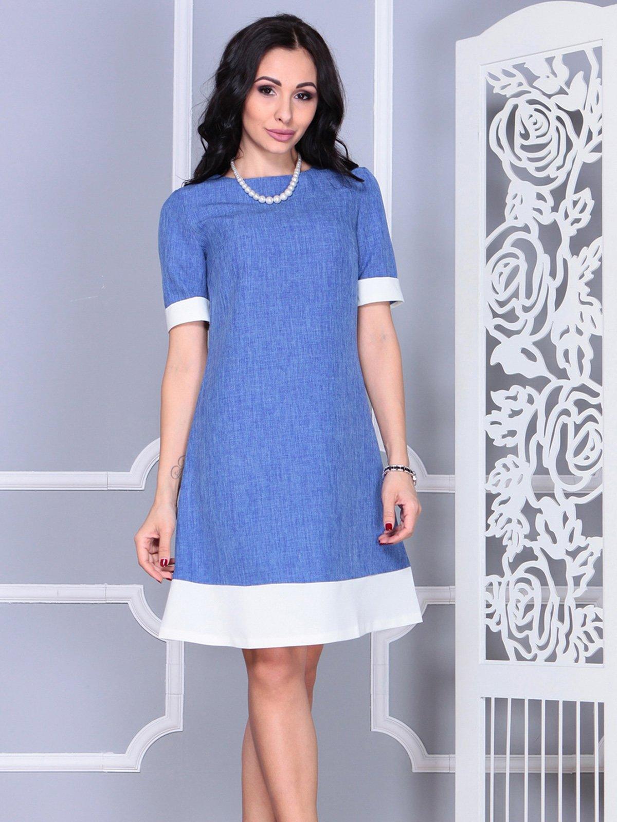 Платье сине-молочное | 4021156 | фото 4