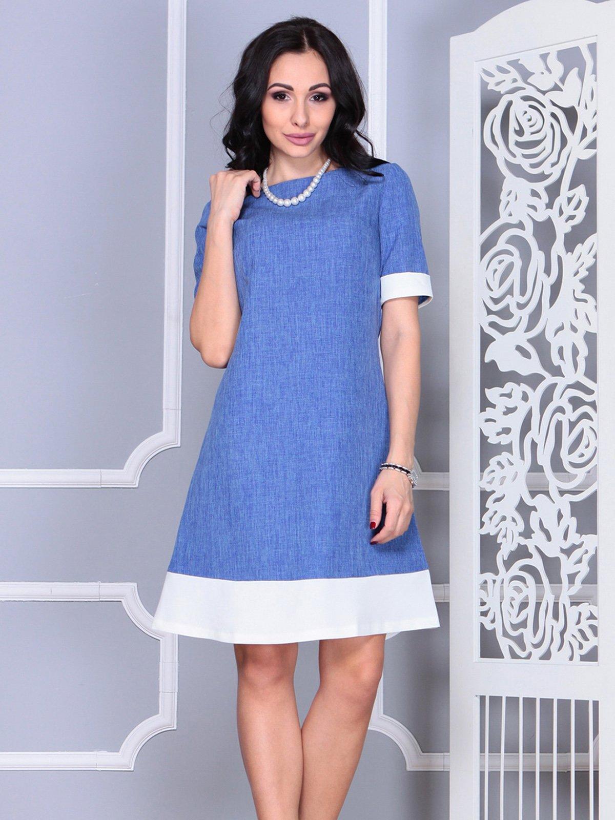 Платье сине-молочное | 4021156 | фото 5