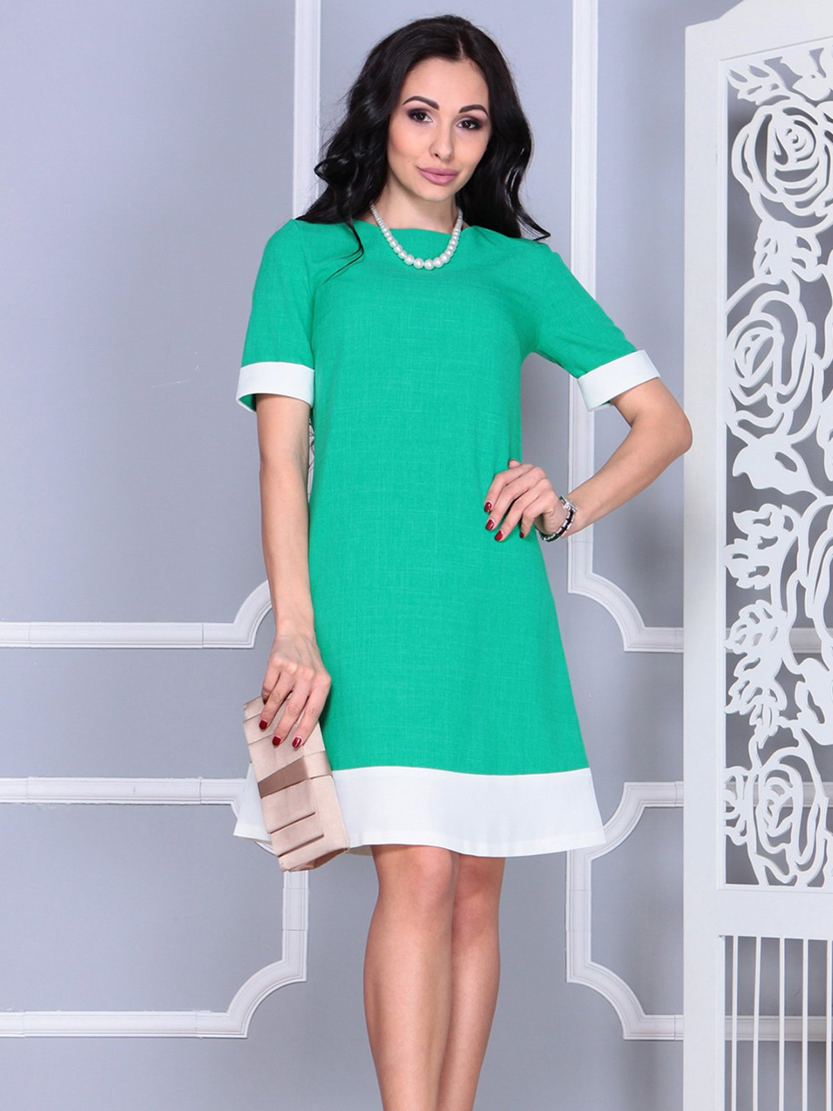Платье зелено-молочное | 4021192