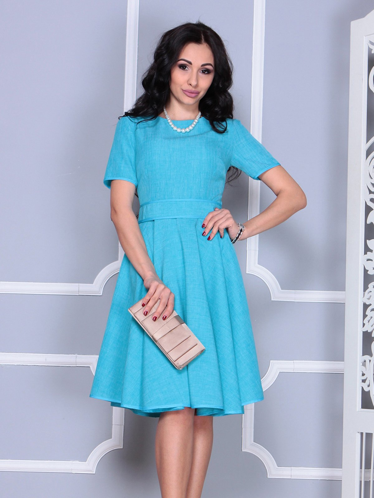 Платье ментолового цвета | 4028057 | фото 3