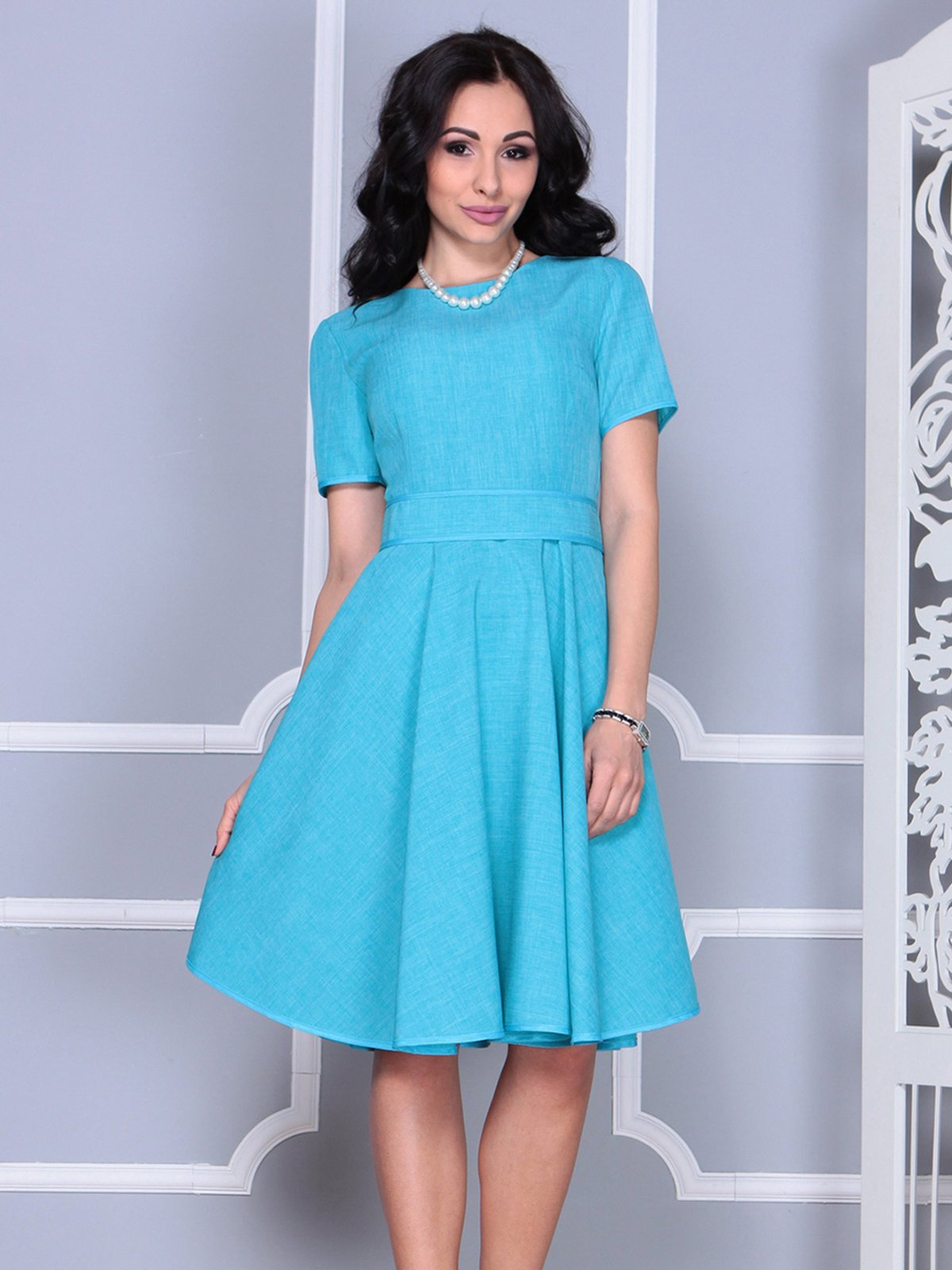 Платье ментолового цвета | 4028057 | фото 4