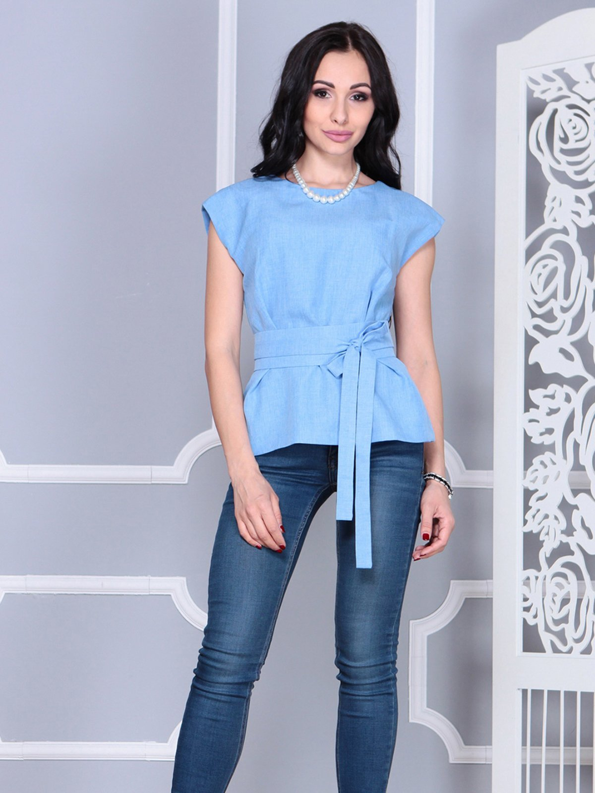 Блуза голубая | 4028091 | фото 3