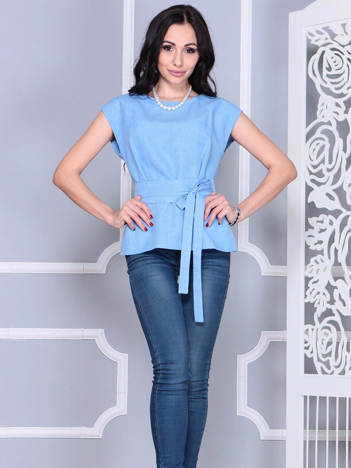 Блуза голубая | 4028091 | фото 4