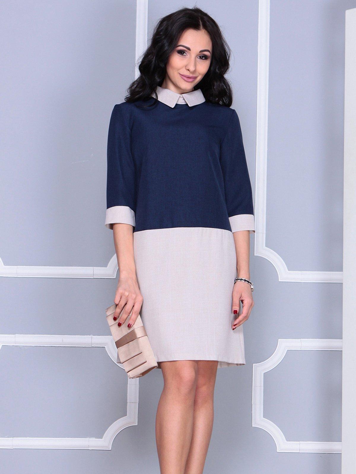 Платье сине-бежевое | 4028097 | фото 3