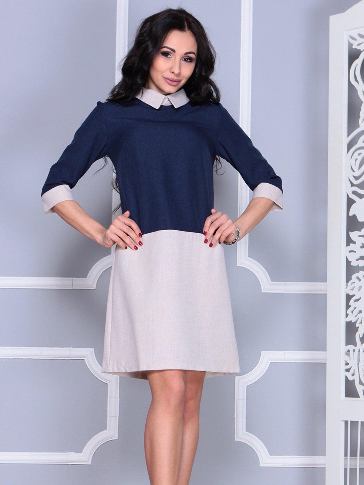 Платье сине-бежевое | 4028097 | фото 4