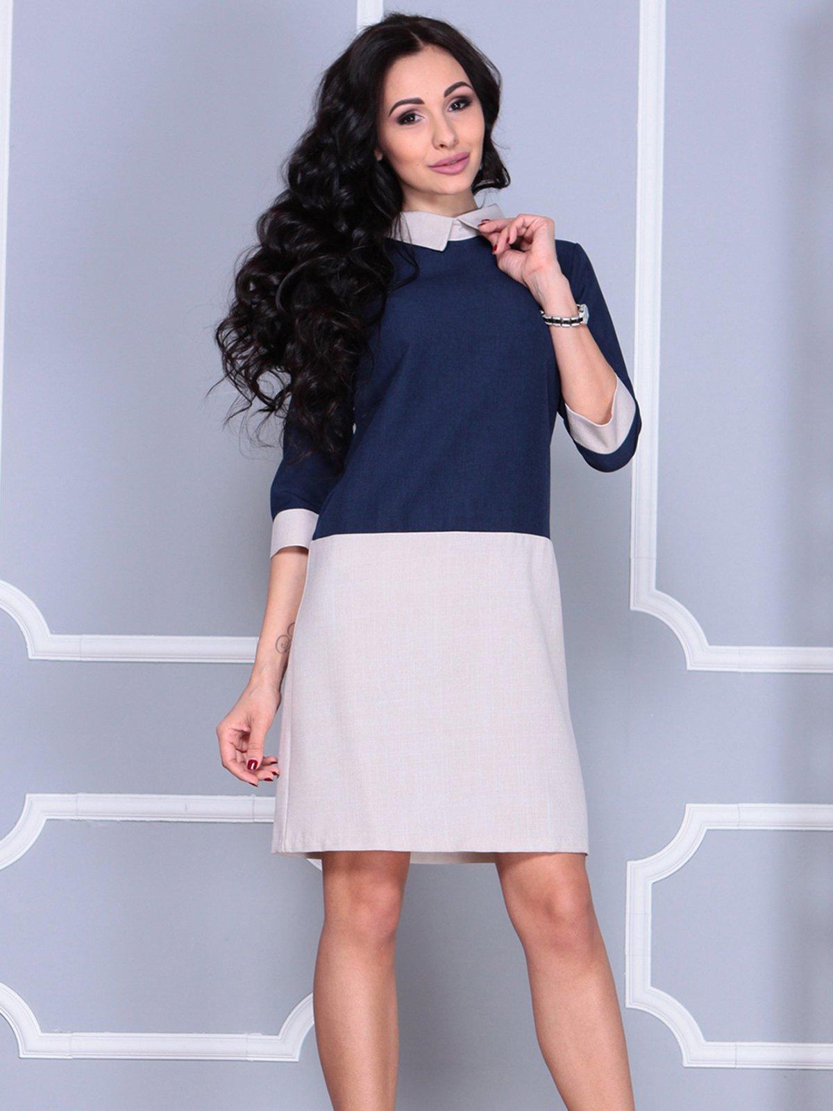 Платье сине-бежевое | 4028097 | фото 5