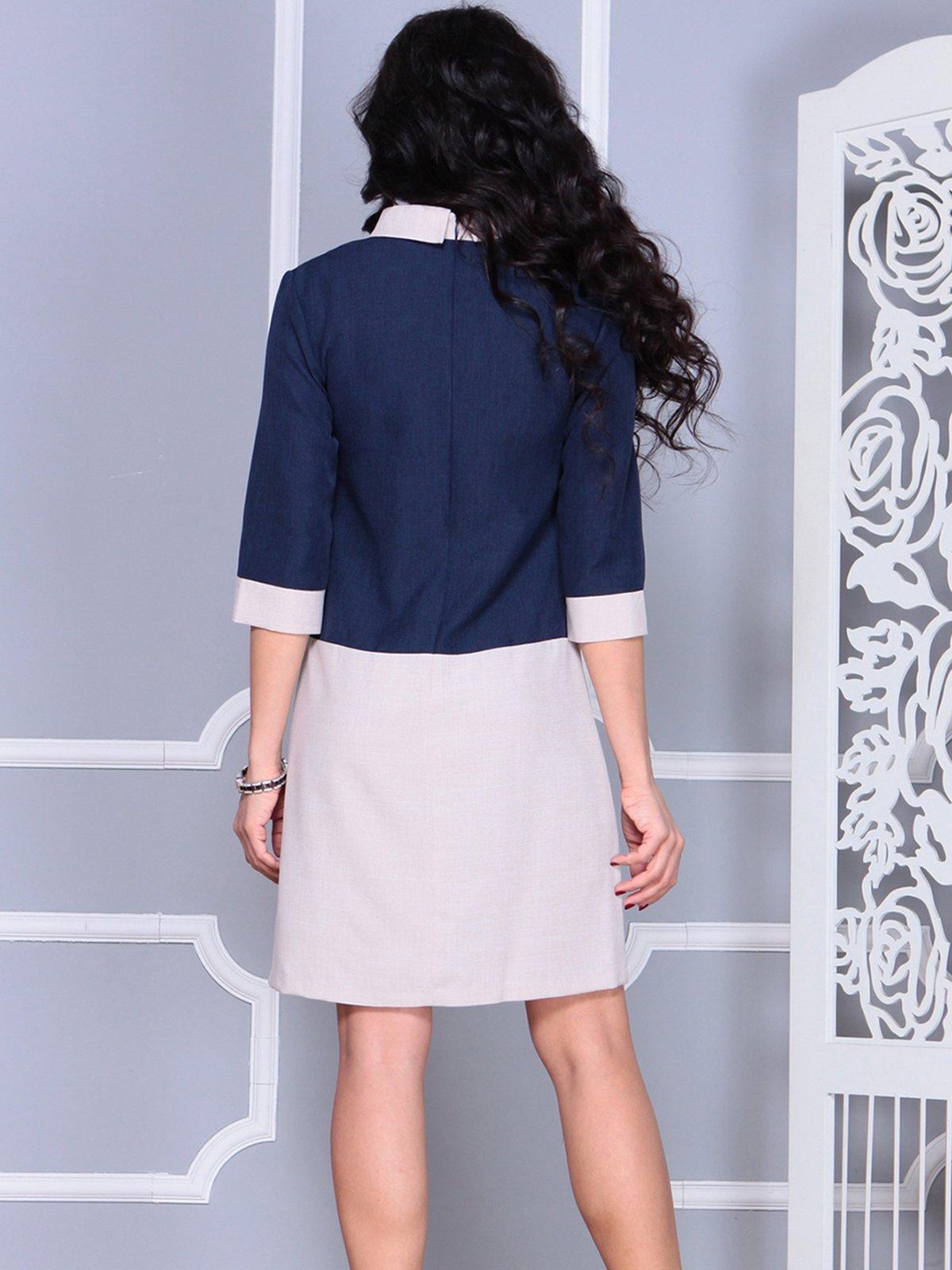 Платье сине-бежевое | 4028097 | фото 2