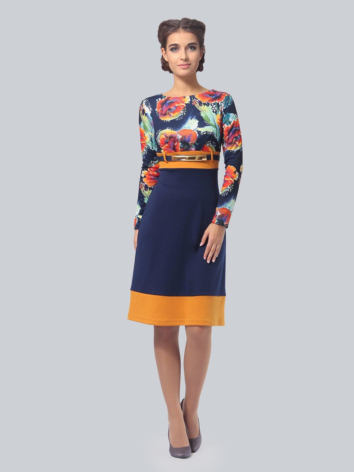 Платье синее с цветочным принтом   4043560
