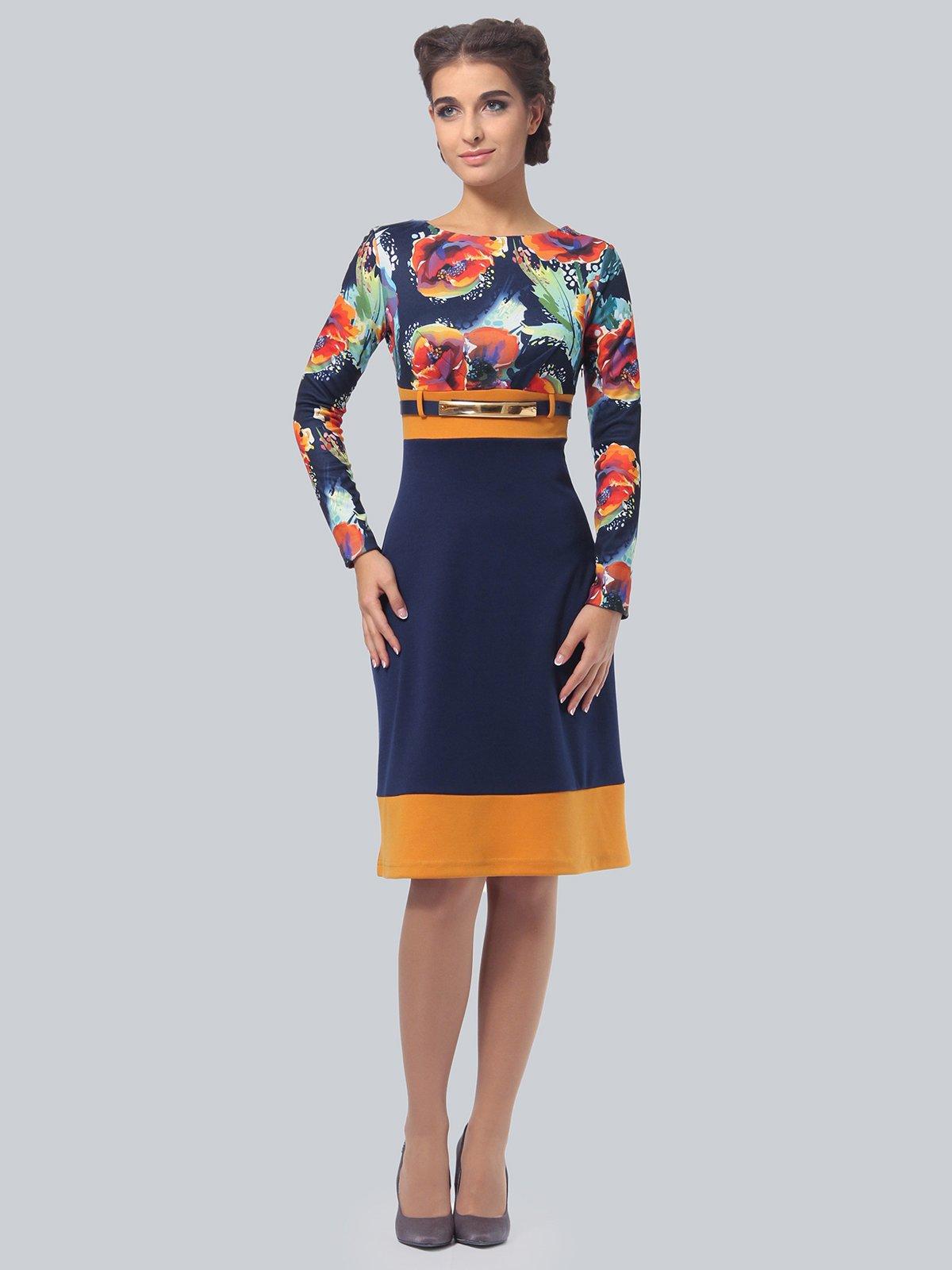 Платье синее с цветочным принтом   4043560   фото 2
